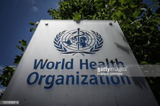 This photograph taken on July 3 shows a sign of the World Health Organization at their headquarters in Geneva, amidst the COVID-19 outbreak, caused...