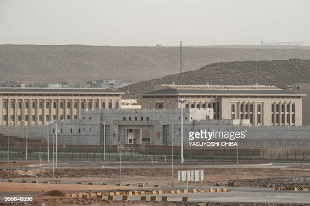 This photograph taken on July 4 shows buildings of a Chinese military base next to Doraleh MultiPurpose Port in Djibouti East Africa's smallest...