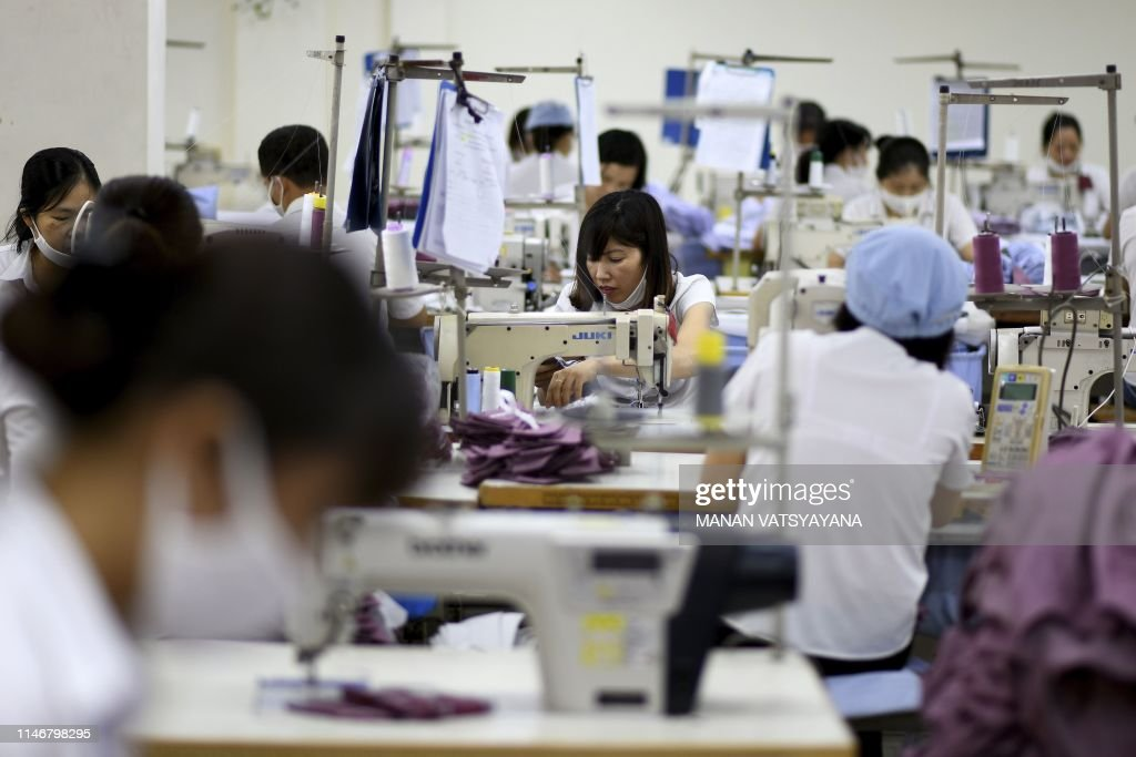 This photograph taken on May 24, 2019 shows garment factory