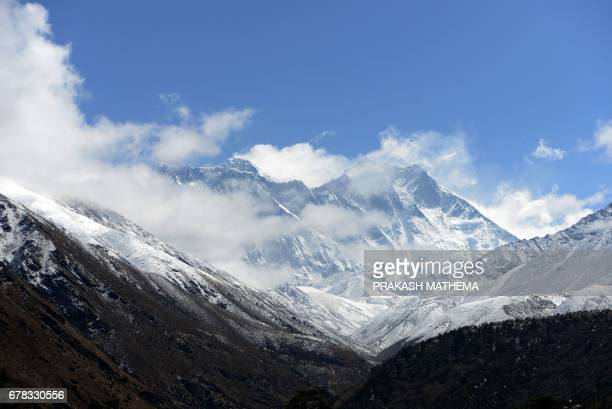 This photograph taken on May 4 shows a general view of the Mount Everest range from Tengboche some 300 kms northeast of Kathmandu / AFP PHOTO /...