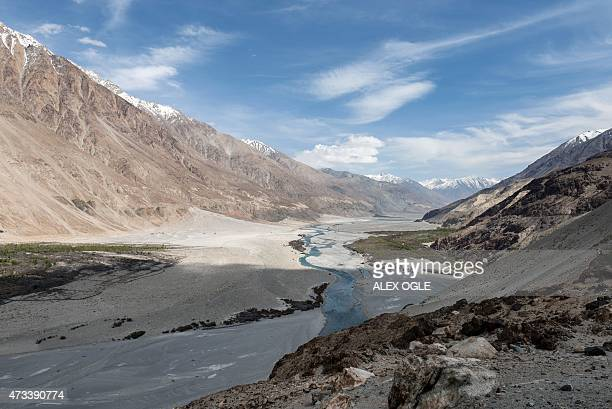 This photograph taken on May 7 shows the Shyok River running through the Nubra Valley in Ladakh AFP PHOTO / ALEX OGLE