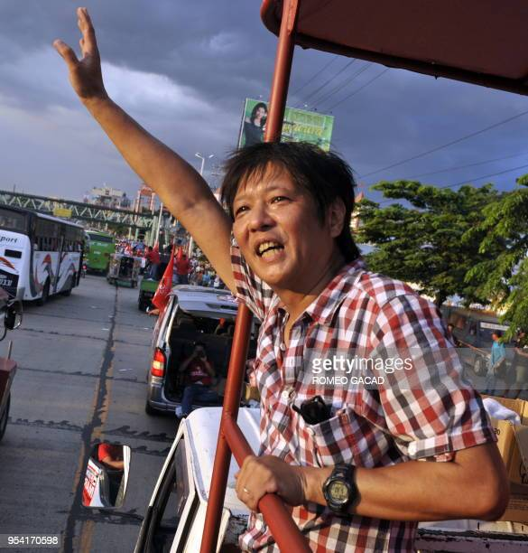 This photograph taken on May 9 2010 shows senatorial candidate Ferdinand Marcos Jnr 52 on an election campaign in Manila Fedinand Jnr the son of...