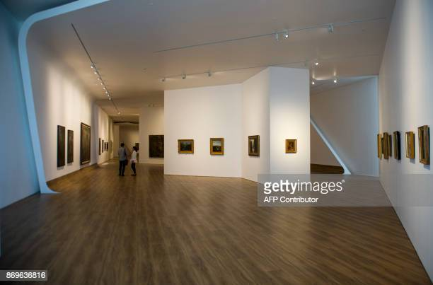 This photograph taken on November 1 2017 shows artwork on display at the Museum of Modern and Contemporary Art in Nusantara in Jakarta Indonesia's...
