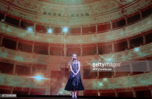 This photograph taken on November 10 shows Australian actress Nicole Kidman as she speaks during the 2017 Tmall 1111 Global Shopping Festival gala in...