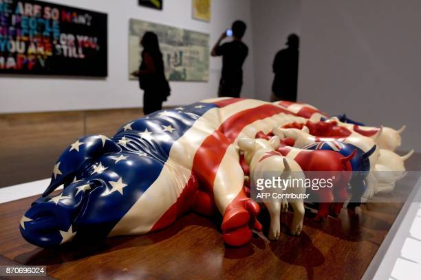 This photograph taken on November 5 2017 shows an artwork on display at the Museum of Modern and Contemporary Art in Nusantara in Jakarta Indonesia's...