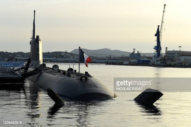 This photograph taken on November 6, 2020 shows the new French navy Barracuda class nuclear attack submarine Suffren, docked in Toulon's harbour.