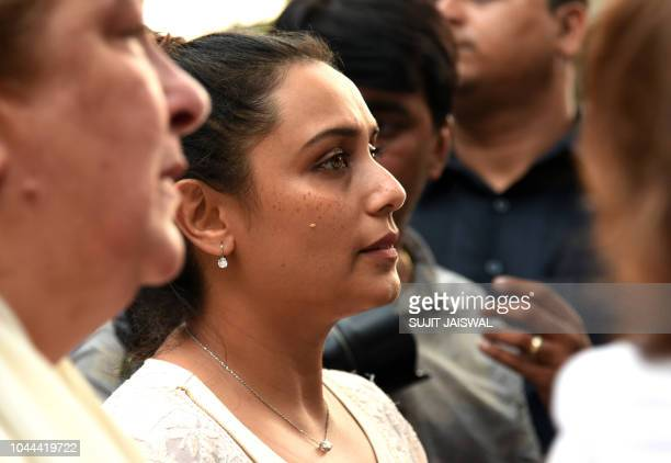 This photograph taken on October 1 shows Indian Bollywood actress Rani Mukharjee attending the funeral Krishna Raj Kapoor wife of late actor Raj...