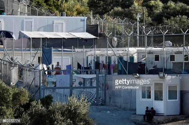 This photograph taken on October 13 shows an official government refugee shelter on the Greek island of Samos Nearly 300 Syrians Iraqis Afghans and...