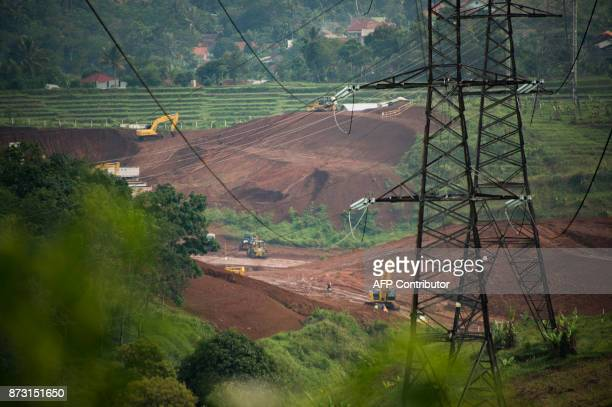 This photograph taken on October 20 2017 shows a construction site of the JakartaBandung bullettrain development in Bandung West Java province From a...