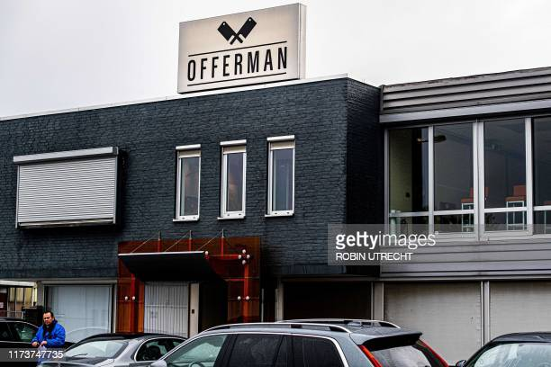 This photograph taken on October 4 shows the exterior of the meat products supplier 'Offerman' in Aalsmeer The Netherlands The company issued a...