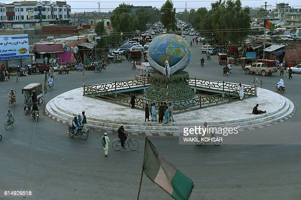 This photograph taken on October 6 2016 shows a general view of downtown Lashkar Gah capital of Helmand province For years Helmand was the...