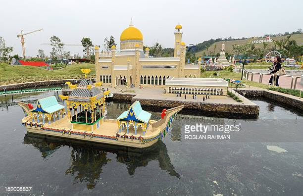 This photograph taken on September 14 2012 shows a model made of lego bricks of Brunei's Sultan Omar Ali Saifuddin mosque at Malaysia's Legoland Park...