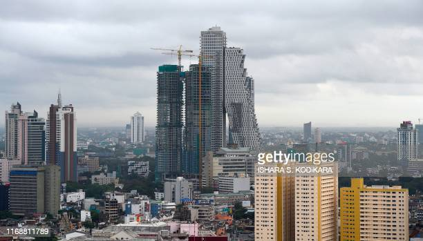 This photograph taken on September 16 2019 shows the view of Sri Lanka's rapidly changing skyline in Colombo on the day that the government...