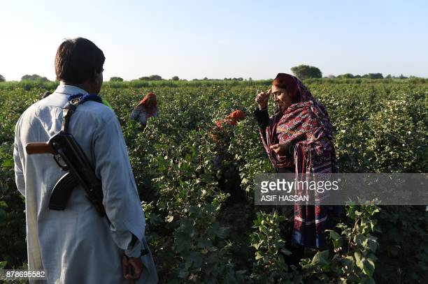 This photograph taken on September 27 2017 shows Pakistani woman Mukhtiar Naz known as Waderi Nazo Dharejo visiting her agriculture field in Qazi...