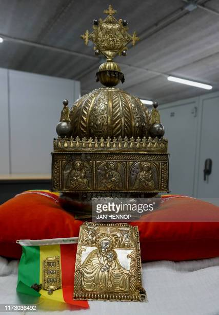 This photograph taken on September 27 shows an 18thcentury Ethiopian crown at an undisclosed highsecurity storage facility in the Netherlands A...