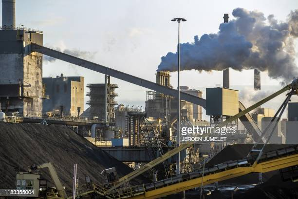 This photography taken on November 19, 2019 shows a Tata Steel usine in IJmuiden. - Indian group Tata Steel, which owns major blast furnaces outside...