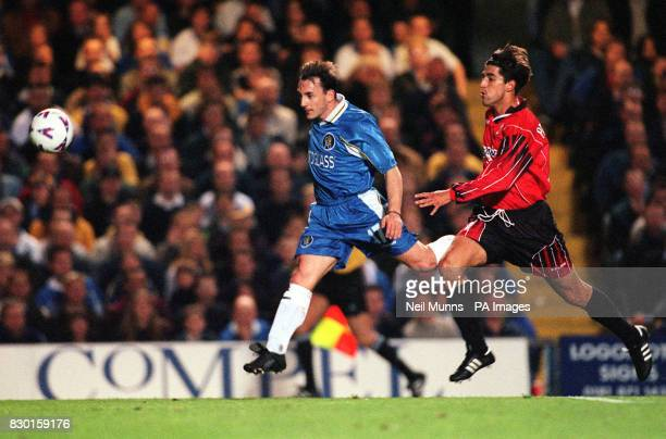 This picture can only be used within the context of an editorial feature Chelsea's Albert Ferrer chases up the ball ahead of Real Mallorca's Veljko...