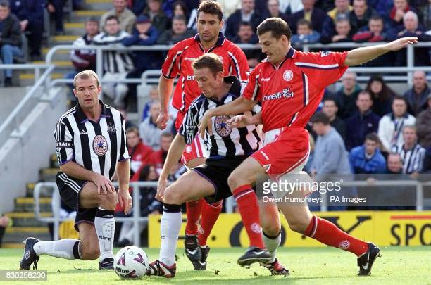 This picture can only be used within the context of an editorial feature Newcastle United's new signing Kevin Gallacher battles with Middlesbrough's...