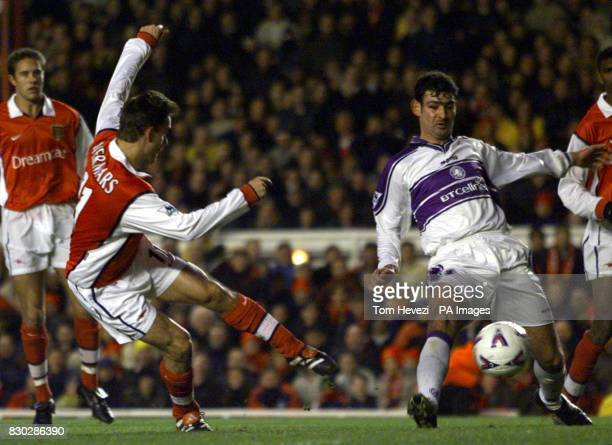 This picture can only be used within the context of an editorial feature Arsenal's Marc Overmars scores his second goal against Middlebrough during...