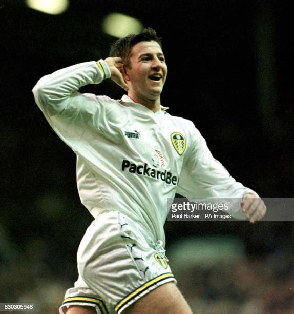 This picture can only be used within the context of an editorial feature. Leeds United's Michael Bridges celebrates after scoring against Leicester...