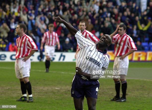 This picture can only be used within the context of an editorial feature Tranmere Rovers' Wayne Allison celebrates his goal against Sunderland during...