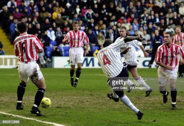 This picture can only be used within the context of an editorial feature Tranmere Rovers' Wayne Allison scores against Sunderland during their FA Cup...
