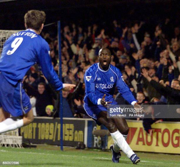 This picture can only be used within the context of an editorial feature Chelsea's George Weah celebrate his goal which was set up by Chris Sutton...