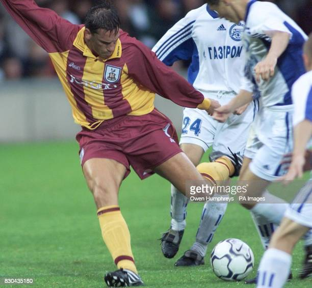 This picture can only be used within the context of an editorial feature Bradford City's Lee Mills Shoots just wide against St Petersburg during...