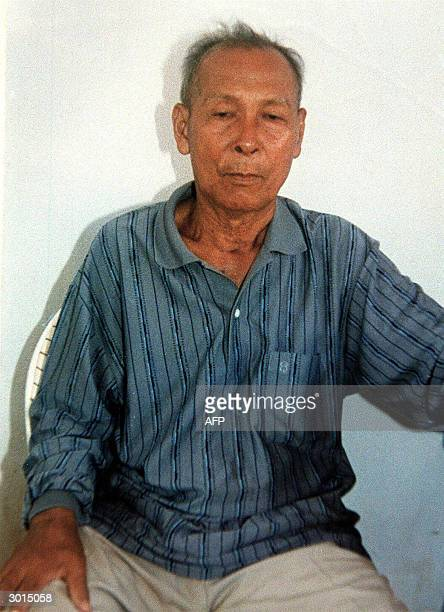 This picture dated 12 March 1999 and released by the Cambodian Military Intelligence Department in charge of his case shows notorious Khmer Rouge...