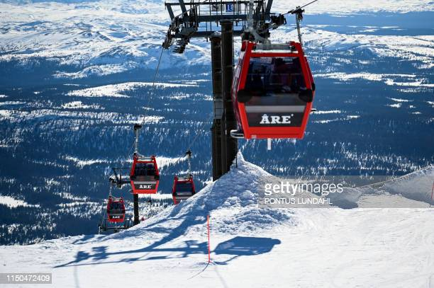 This picture dated April 23 2019 shows a ski lift at Areskutan mountain in Are Sweden The International Olympic Committee in Lausanne Switzerland...