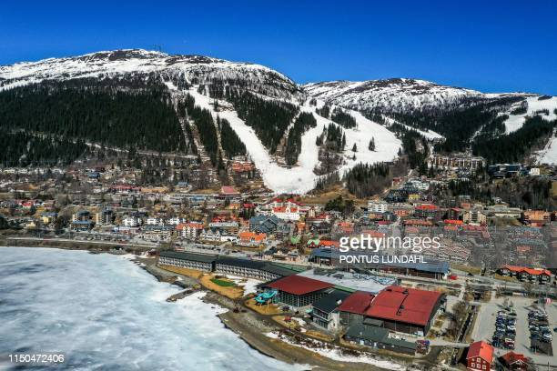 This picture dated April 23 2019 shows an overview of the ski resort of Are Sweden The International Olympic Committee in Lausanne Switzerland will...