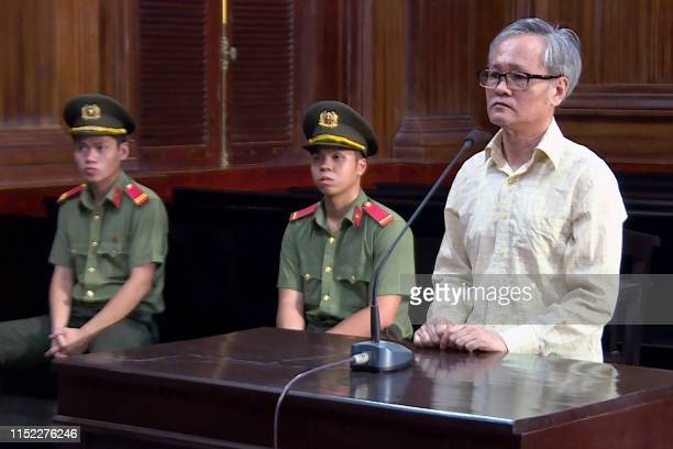 This picture from the Vietnam News Angecy taken and released on June 27 2019 shows former lawyer Tran Cong Khai being sentenced to eight years in...