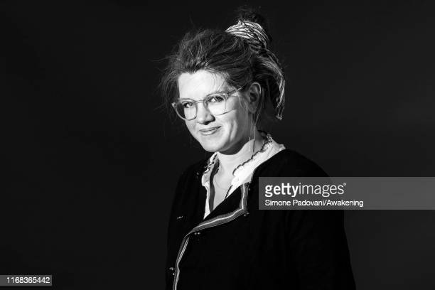 This picture has been converted in black and white] British author Jessie Greengrass attends a photo call during Edinburgh International Book...