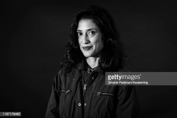 this picture has been converted in black and white] Pakistani writer Fatima Bhutto attends a photocall during Edinburgh International Book Festival...