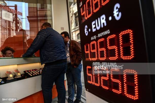 This picture is taken on April 10 2018 in Istanbul shows a screen displaying foreign exchange rates against Turkish liras as people change their...