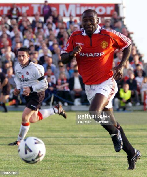 This picture may only be used within the context of an editorial feature Manchester United's Andy Cole on the ball during United's match against an...