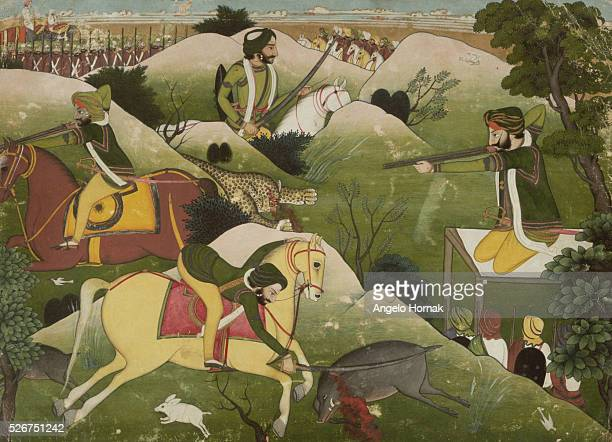 This picture of the Sikh Maharajah Gulab Singh of Jammu hunting is dated to ca 1835 and is currently in the National Museum of New Delhi