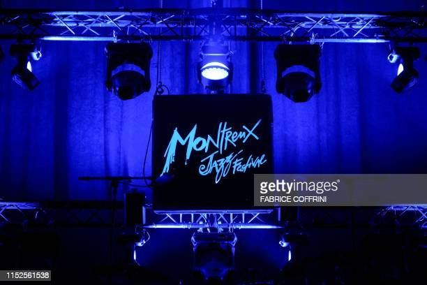 This picture on June 28 2019 shows a sign of the Montreux Jazz Festival during the its opening day in Montreux / RESTRICTED TO EDITORIAL USE