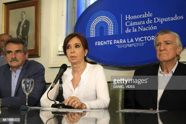 This picture released by Noticias Argentinas shows former Argentine president Cristina Kirchner speaking at a press conference in the National...