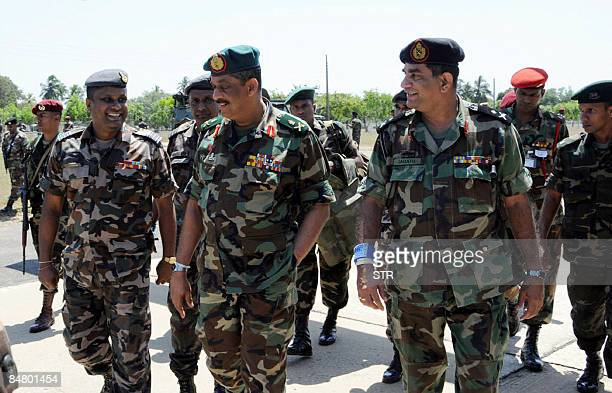 This picture released by the Sri Lankan Army on February 15 2009 shows army chief Lieutenant general Sarath Fonseka after being received by security...