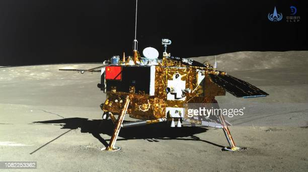 This picture released on January 11 2019 by the China National Space Administration via CNS shows the Chang'e4 lunar probe taken by the Yutu2 moon...
