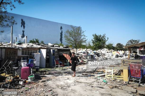 This picture shows a camp of the Roma community in Saint-Denis, north of Paris, on April 15 on the 30th day of a strict lockdown in France to stop...