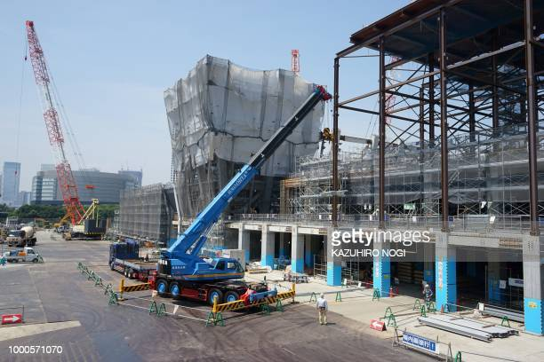 This picture shows a construction site for the Tokyo 2020 venue 'Ariake Arena' in Tokyo on July 17 2018 The new facility will host volleyball events...