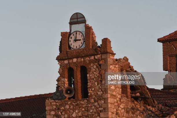 This picture shows a damaged church in the village of Mesohori, near the town of Tyrnavos, after a strong 6,3-magnitude earthquake hit the Greek...