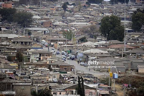 This picture shows a general view of Alexandra Township near Johannesburg where the Football For Hope tournament opened on July 4 2010 According to...