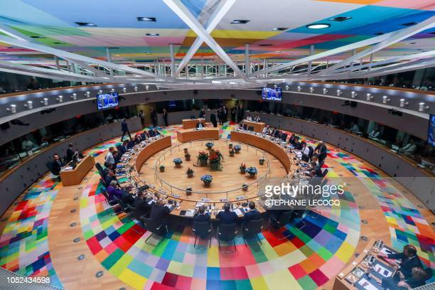 This picture shows a general view of European Union leaders attending the second day of a EU summit at the European Council in Brussels on October...
