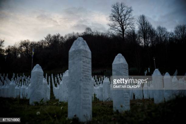 This picture shows a general view of gravestones at the memorial center of Potocari near Srebrenica on November 21 2017 On November 22 ICTY judges...
