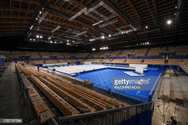 This picture shows a general view of the Ariake Gymnastics Centre, a venue for artistic, rhythmic and trampoline gymnastics events during the Tokyo...