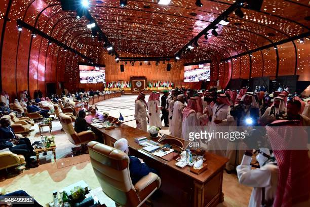 This picture shows a general view of the congress room during the 29th Summit of the Arab League at the Ithra center in Dhahran Eastern Saudi Arabia...