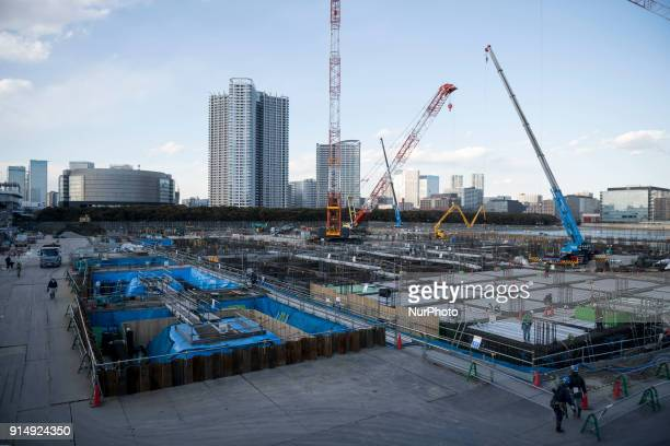 This picture shows a general view of the construction site for the Tokyo 2020 venue quotAriake Arenaquot in Tokyo on February 6 2018 The new facility...